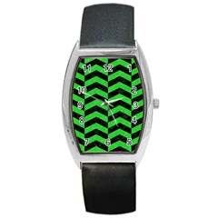 Chevron2 Black Marble & Green Colored Pencil Barrel Style Metal Watch by trendistuff