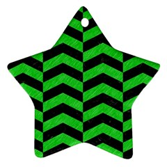 Chevron2 Black Marble & Green Colored Pencil Star Ornament (two Sides) by trendistuff