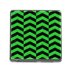 Chevron2 Black Marble & Green Colored Pencil Memory Card Reader (square) by trendistuff