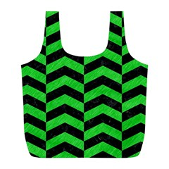 Chevron2 Black Marble & Green Colored Pencil Full Print Recycle Bags (l)  by trendistuff