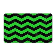 Chevron3 Black Marble & Green Colored Pencil Magnet (rectangular) by trendistuff
