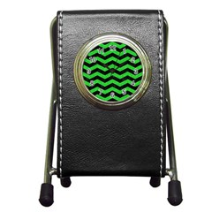 Chevron3 Black Marble & Green Colored Pencil Pen Holder Desk Clocks