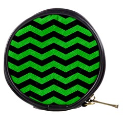 Chevron3 Black Marble & Green Colored Pencil Mini Makeup Bags by trendistuff