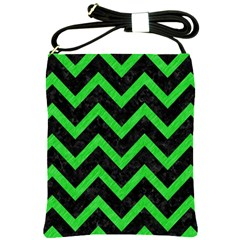 Chevron9 Black Marble & Green Colored Pencil Shoulder Sling Bags by trendistuff