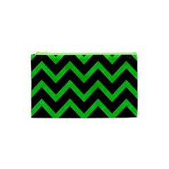 Chevron9 Black Marble & Green Colored Pencil Cosmetic Bag (xs) by trendistuff