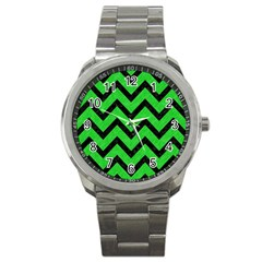 Chevron9 Black Marble & Green Colored Pencil (r) Sport Metal Watch by trendistuff