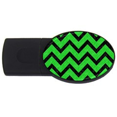Chevron9 Black Marble & Green Colored Pencil (r) Usb Flash Drive Oval (4 Gb)