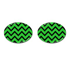 Chevron9 Black Marble & Green Colored Pencil (r) Cufflinks (oval) by trendistuff