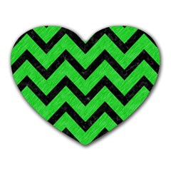 Chevron9 Black Marble & Green Colored Pencil (r) Heart Mousepads by trendistuff
