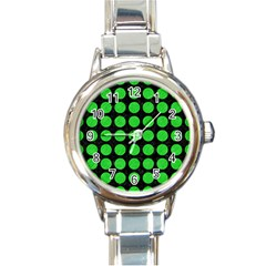 Circles1 Black Marble & Green Colored Pencil Round Italian Charm Watch by trendistuff