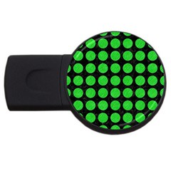 Circles1 Black Marble & Green Colored Pencil Usb Flash Drive Round (2 Gb) by trendistuff
