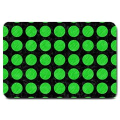 Circles1 Black Marble & Green Colored Pencil Large Doormat  by trendistuff