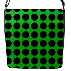 Circles1 Black Marble & Green Colored Pencil (r) Flap Messenger Bag (s) by trendistuff
