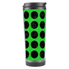 Circles1 Black Marble & Green Colored Pencil (r) Travel Tumbler by trendistuff