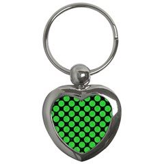 Circles2 Black Marble & Green Colored Pencil Key Chains (heart)  by trendistuff