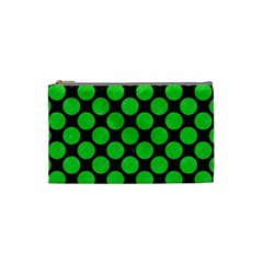 Circles2 Black Marble & Green Colored Pencil Cosmetic Bag (small)  by trendistuff