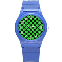 Circles2 Black Marble & Green Colored Pencil Round Plastic Sport Watch (s) by trendistuff