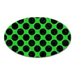 Circles2 Black Marble & Green Colored Pencil (r) Oval Magnet by trendistuff