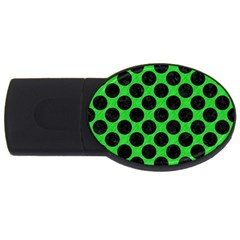 Circles2 Black Marble & Green Colored Pencil (r) Usb Flash Drive Oval (4 Gb)