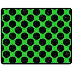 Circles2 Black Marble & Green Colored Pencil (r) Double Sided Fleece Blanket (medium)  by trendistuff