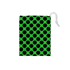 Circles2 Black Marble & Green Colored Pencil (r) Drawstring Pouches (small)  by trendistuff