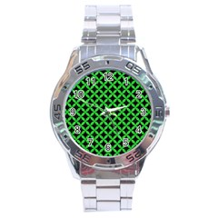 Circles3 Black Marble & Green Colored Pencil Stainless Steel Analogue Watch by trendistuff
