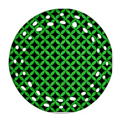 Circles3 Black Marble & Green Colored Pencil Ornament (round Filigree) by trendistuff