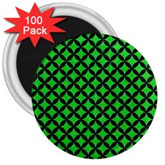 Circles3 Black Marble & Green Colored Pencil (r) 3  Magnets (100 Pack) by trendistuff