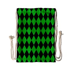Diamond1 Black Marble & Green Colored Pencil Drawstring Bag (small)