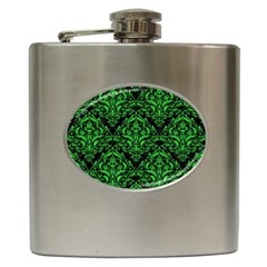 Damask1 Black Marble & Green Colored Pencil Hip Flask (6 Oz) by trendistuff
