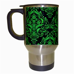 Damask1 Black Marble & Green Colored Pencil Travel Mugs (white) by trendistuff