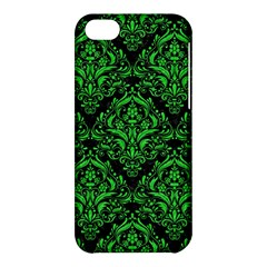 Damask1 Black Marble & Green Colored Pencil Apple Iphone 5c Hardshell Case by trendistuff
