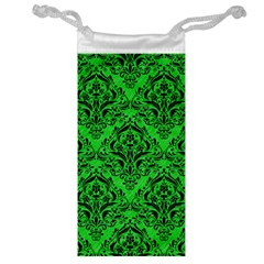 Damask1 Black Marble & Green Colored Pencil (r) Jewelry Bag by trendistuff