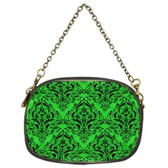 Damask1 Black Marble & Green Colored Pencil (r) Chain Purses (two Sides)  by trendistuff