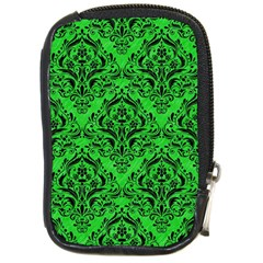Damask1 Black Marble & Green Colored Pencil (r) Compact Camera Cases by trendistuff