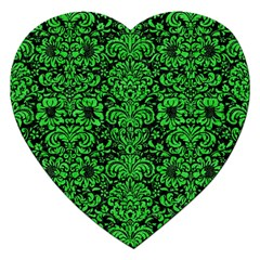 Damask2 Black Marble & Green Colored Pencil Jigsaw Puzzle (heart) by trendistuff