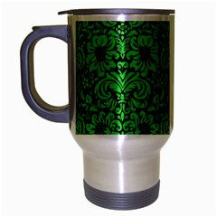 Damask2 Black Marble & Green Colored Pencil Travel Mug (silver Gray) by trendistuff