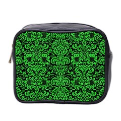 Damask2 Black Marble & Green Colored Pencil Mini Toiletries Bag 2 Side by trendistuff