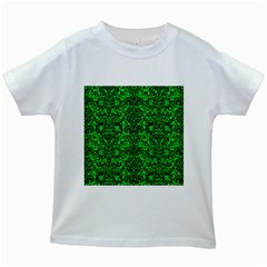 Damask2 Black Marble & Green Colored Pencil (r) Kids White T Shirts by trendistuff