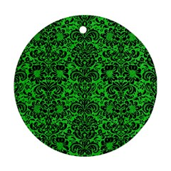 Damask2 Black Marble & Green Colored Pencil (r) Round Ornament (two Sides) by trendistuff