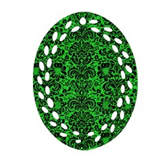 Damask2 Black Marble & Green Colored Pencil (r) Ornament (oval Filigree) by trendistuff