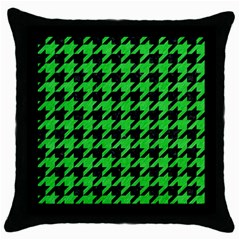 Houndstooth1 Black Marble & Green Colored Pencil Throw Pillow Case (black) by trendistuff