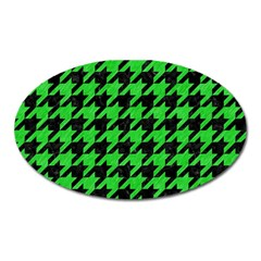 Houndstooth1 Black Marble & Green Colored Pencil Oval Magnet by trendistuff