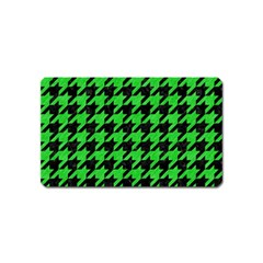Houndstooth1 Black Marble & Green Colored Pencil Magnet (name Card) by trendistuff