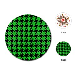 Houndstooth1 Black Marble & Green Colored Pencil Playing Cards (round)