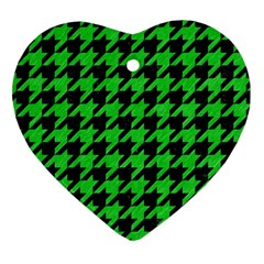 Houndstooth1 Black Marble & Green Colored Pencil Heart Ornament (two Sides) by trendistuff