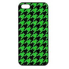 Houndstooth1 Black Marble & Green Colored Pencil Apple Iphone 5 Seamless Case (black) by trendistuff