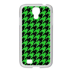 Houndstooth1 Black Marble & Green Colored Pencil Samsung Galaxy S4 I9500/ I9505 Case (white) by trendistuff