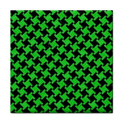 Houndstooth2 Black Marble & Green Colored Pencil Tile Coasters