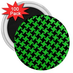 Houndstooth2 Black Marble & Green Colored Pencil 3  Magnets (100 Pack) by trendistuff